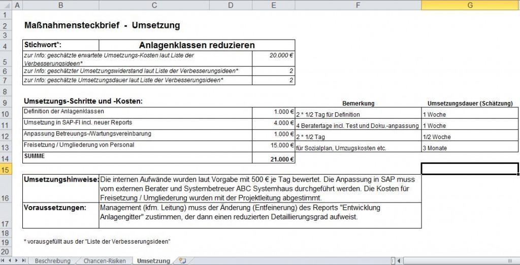 Maßnahmensteckbrief-Umsetzung